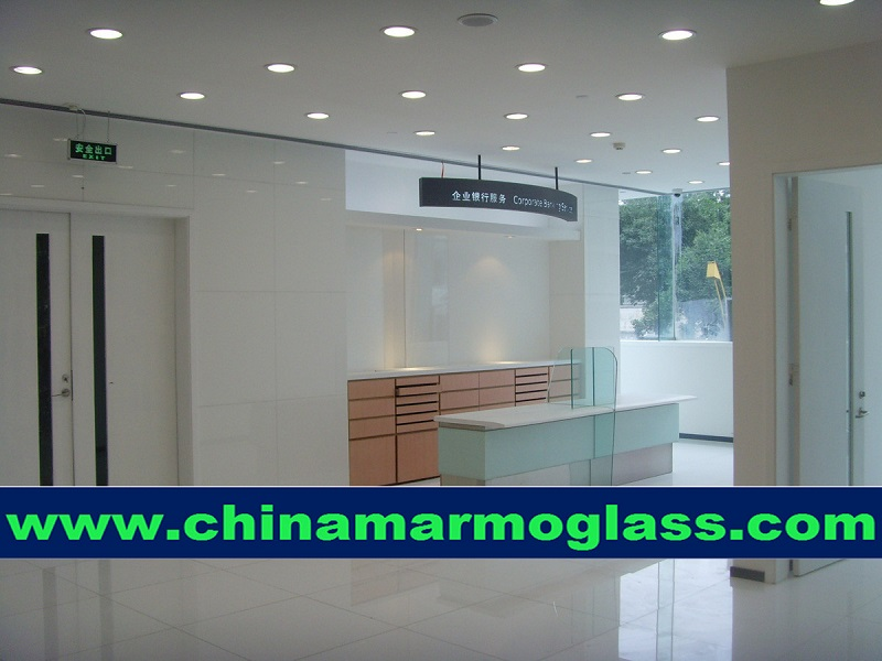 Crystal white Laminated crystallized glass tiles 600x600mm