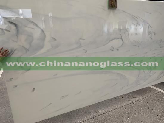 Carrara Nano Glass White Artificia Marble Crystal Glass Stone Slab Cloudy Design