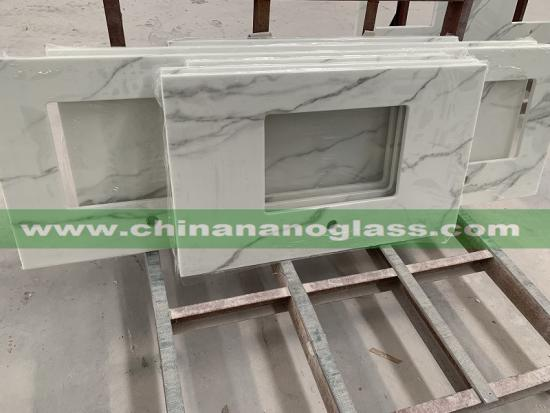 nano calcutta glass stone slab for vanitytop