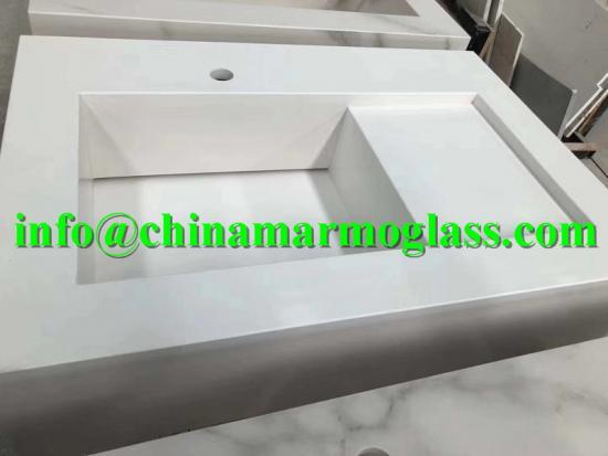 White Sintered Stone Bathroom Vanity Tops Sinks
