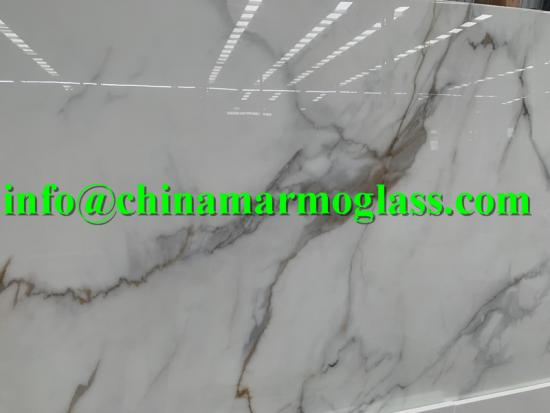 20mm Crystallized Stoneglass Calacatta Gold Nano Glass Slabs