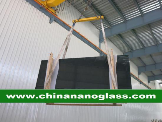 Polished Black Marmoglass Black Crystallized Glass Panels