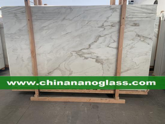 Honed Matt Surface Calacatta Nano Glass Slab Nanoglass Slab