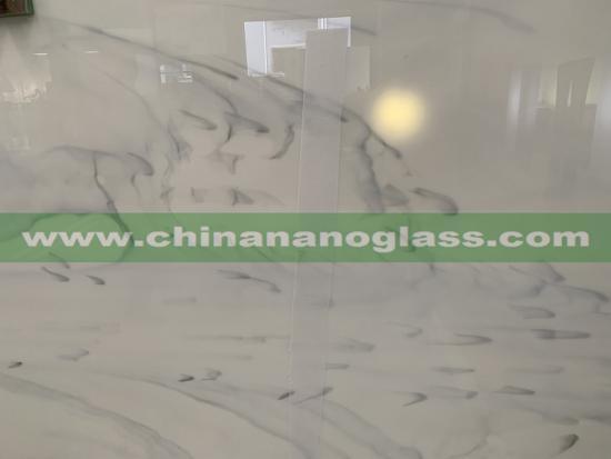 Full Body Carrara White Cloudy Vein Nano Crystal Glass Slabs