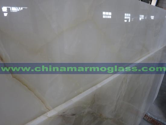 Translucent Polished Snow White Onyx Marble Slabs and Tiles