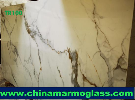 Premium Calacatta Gold Vein Nano Glass Slab Polished 18mm from Tianrun Stoneglass