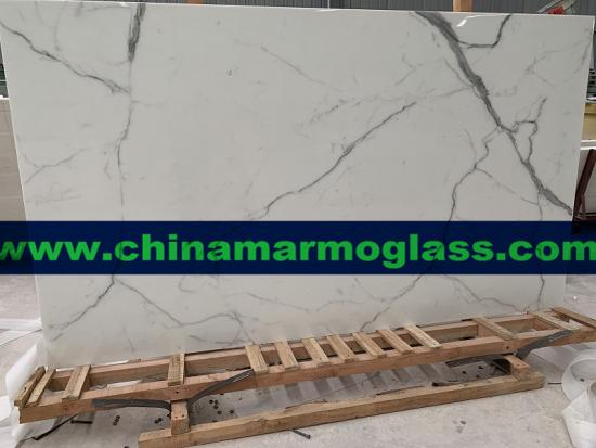 Calacatta Nano Crystal Glass Slab