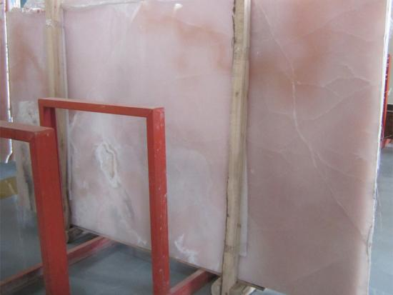 Luxurious Decoration Transparent Pink Onyx Marble Slab