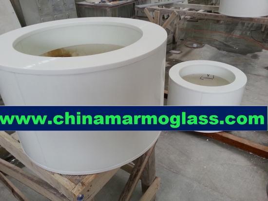 white marmoglass column white crystal crystallized glass panel wall column