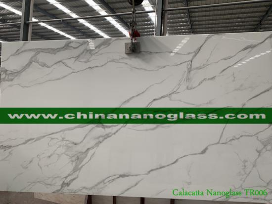 China Man-Made Stone Nano Crystallized Glass Stone Calacatta White Slab