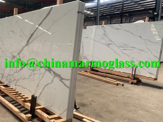 Calacatta White Nano Crystallized Glass Slab Countertop