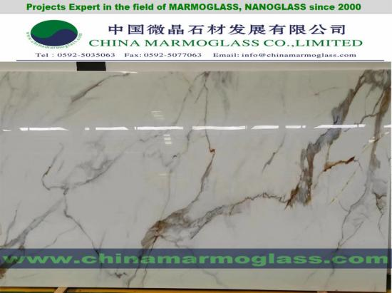 CALACATTA NANOGLASS TR008 FOR SLABS AND COUNTERTOPS