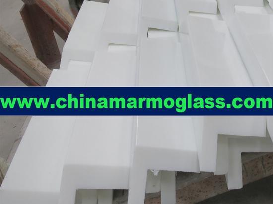 Super Nano Glass with mitered stone edge and 45 mitered edge