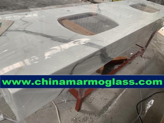 Crystallized Glass Calacatta White Marble Nano Glass Stone Kitchen Top for Bathrooms and Construction