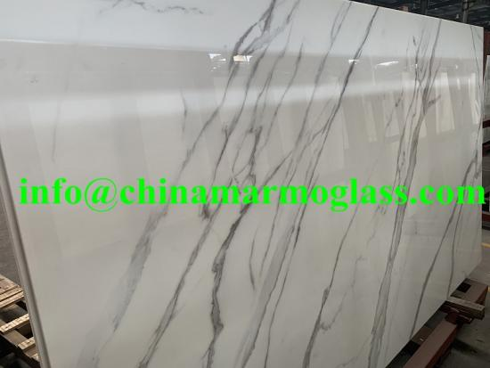 Popular Calacatta White Nanoglass Slab