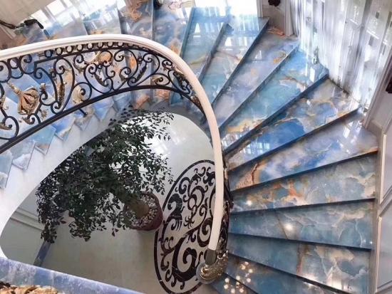 Blue Jade Onyx Slab Blue Onyx Slab for Stair Steps