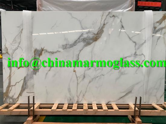 High quality Calacatta Gold Nanoglass Stone Slabs at competitive price