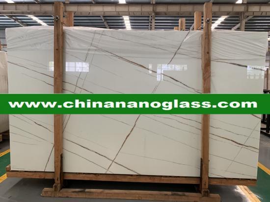 Custom Size Calacata White Nano-crystal Glass