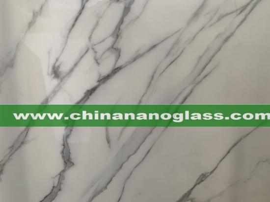 White Grey Vein Marble Type Nano Glass Stone Nanoglass Slab