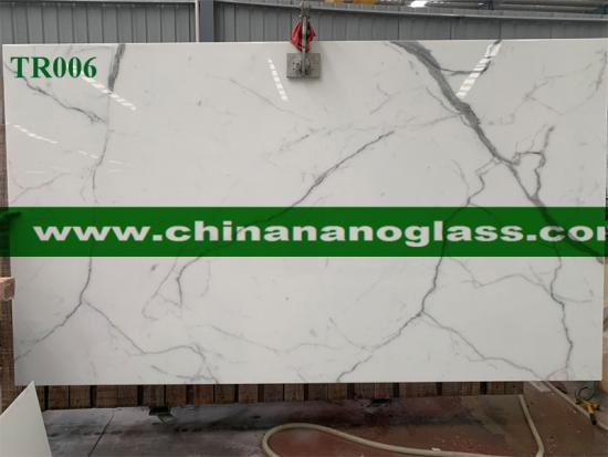 Calacatta Carrara Marble look Nano Glass Slabs