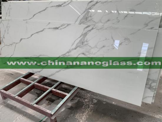 Artificial Stone Nano Glass Calacatta White Marble Slabs for Interior Wall and Background
