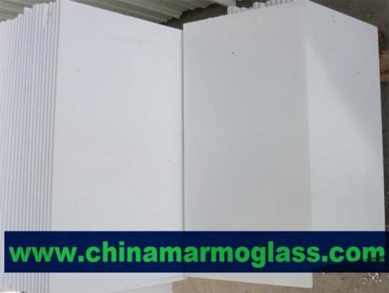 Beatiful White Crystal Marmoglass Tiles 600x300mm