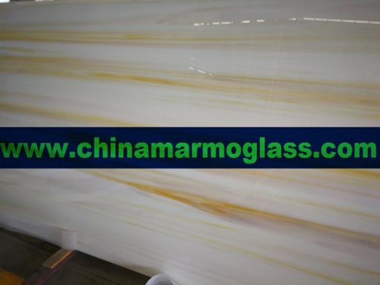 Wood Gold and Wood Yellow color Nano Crystallized Glass Slabs