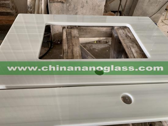 Zero Water Absorption Artificial NanoStone Prefab Wood Nanoglass Countertops