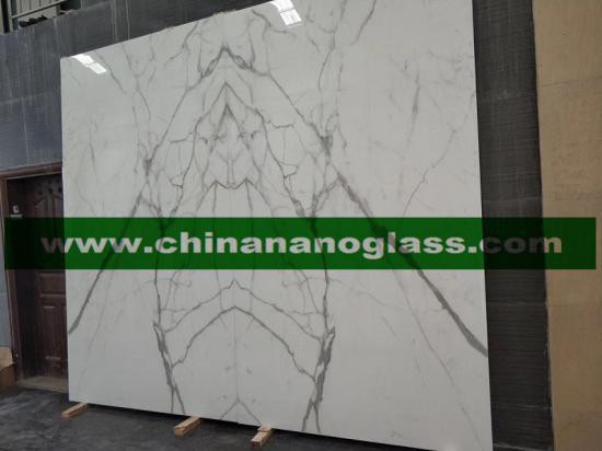 Calacatta White Nano Crystallized Glass Stone Slabs Bookmatch Design