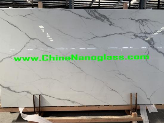 Calacatta Super White Nanoglass Slabs and Tiles