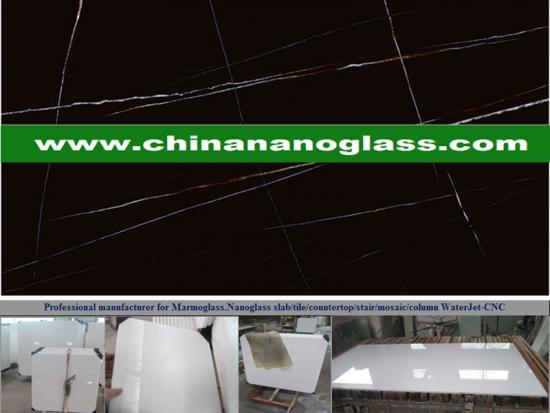 Laurent Black Gold Vein Sahara Noir Nano Glass Marble Slabs