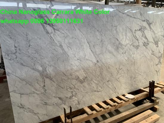 Tianrun Stoneglass The Latest Technology 3D Nano Glass Carrara White Marble Slabs