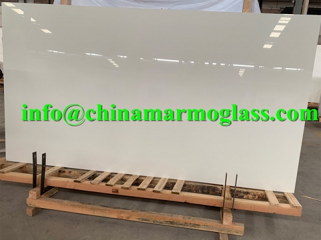 Nano White Glass Marble Slabs 300x160x2cm