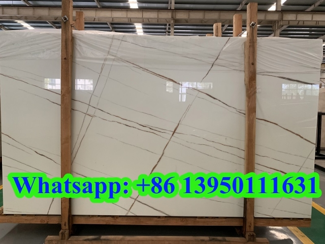 Nature marble look nano glass slab