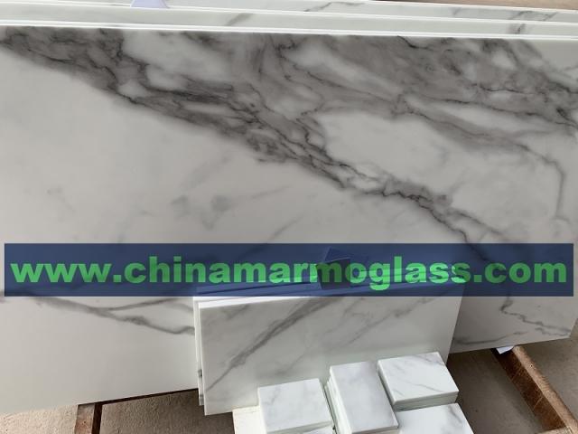 Statuario White Nano Glass Marble for Coutertops
