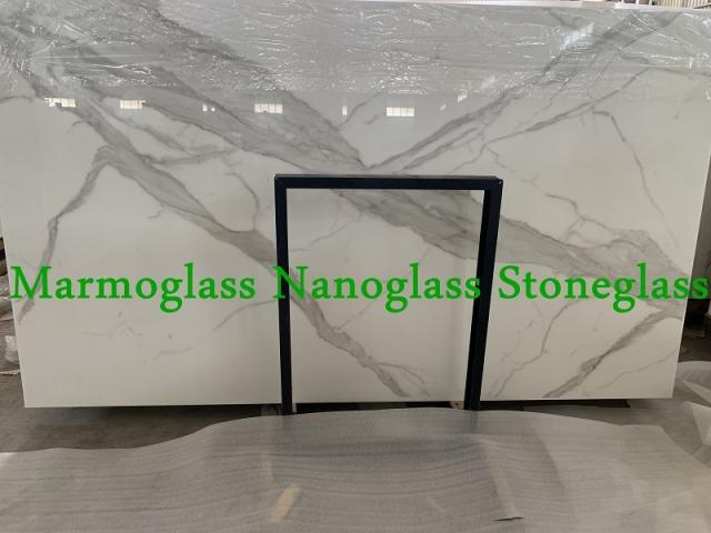 White Calacatta Nano Glass Slabs for Kitchen Countertops