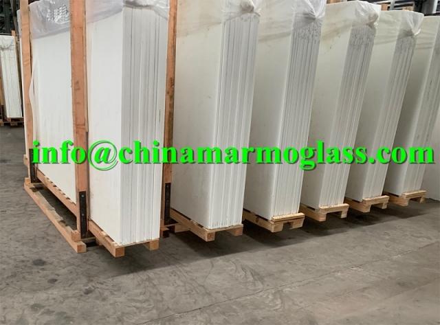 Nano White Glass Marble Slabs 300x160x2cm