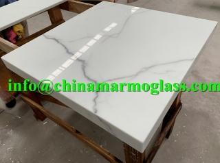 White Nano Glass Bathroom Vanity Countertops
